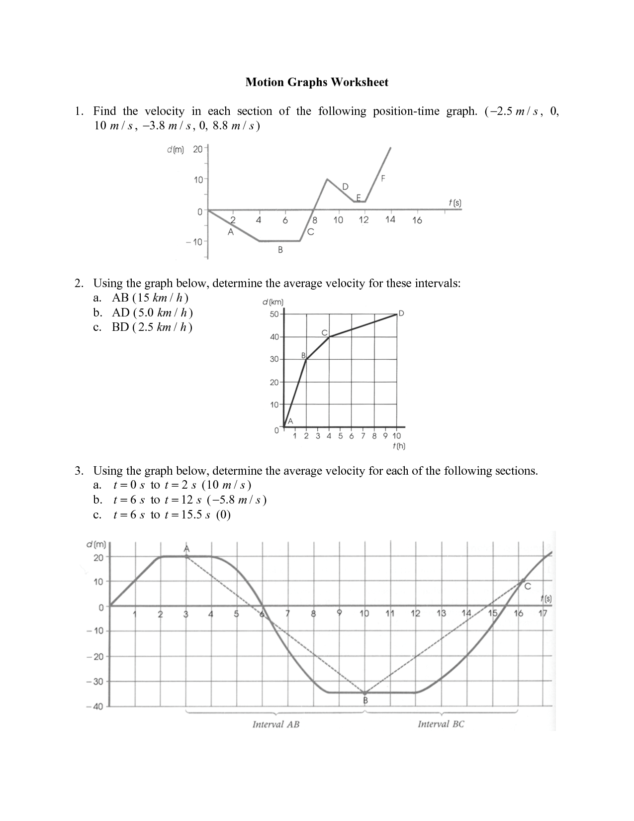31 Velocity Time Graph Worksheet Answers