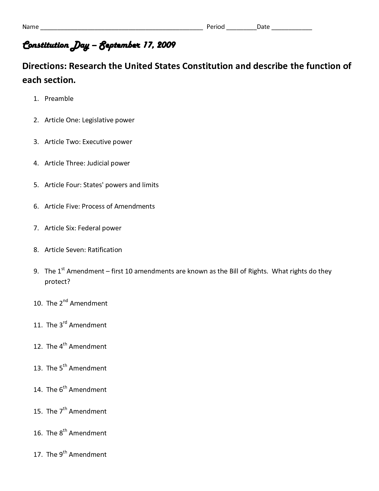 U S Constitution Worksheet