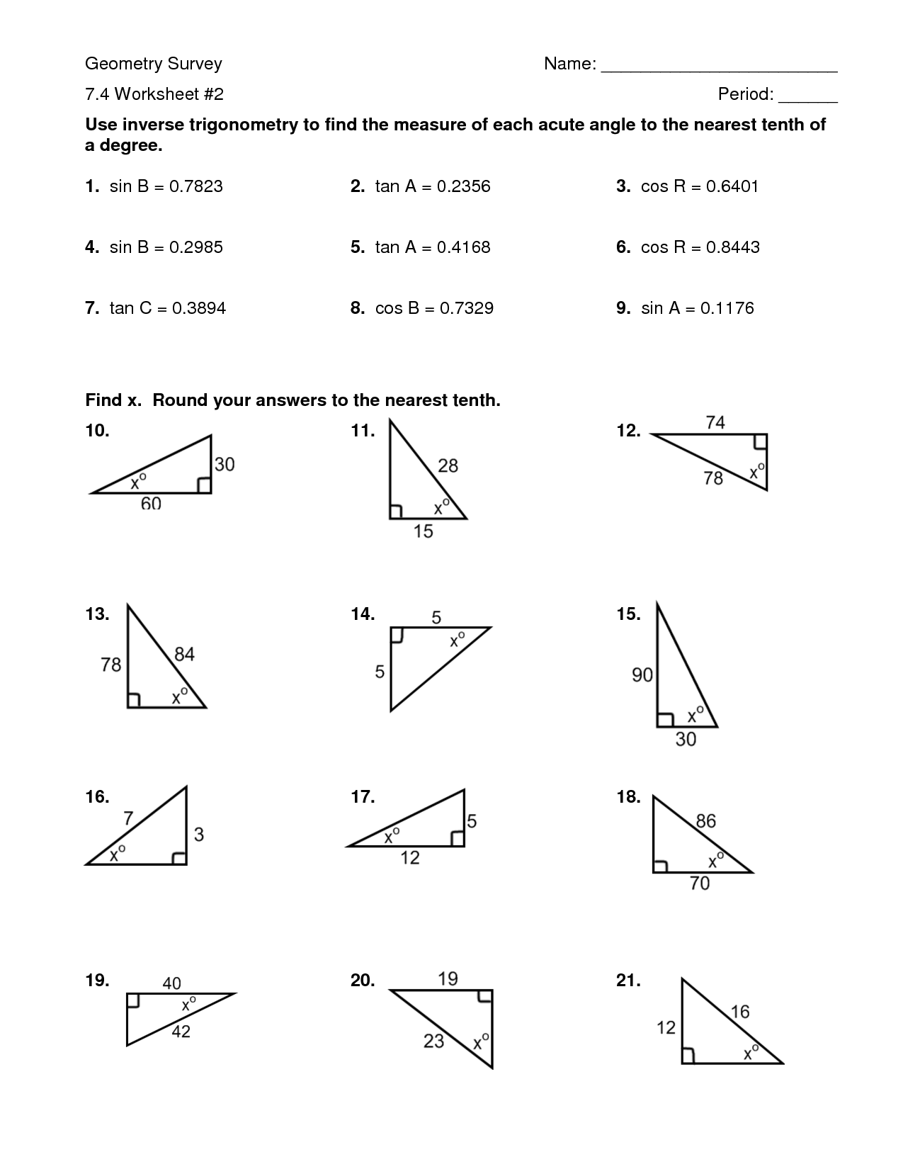 10 Best Images Of Trigonometry Sin Cos Tan Worksheets