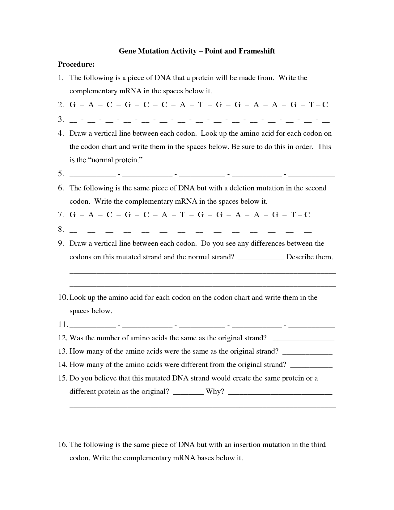 Gene And Chromosome Mutation Worksheet
