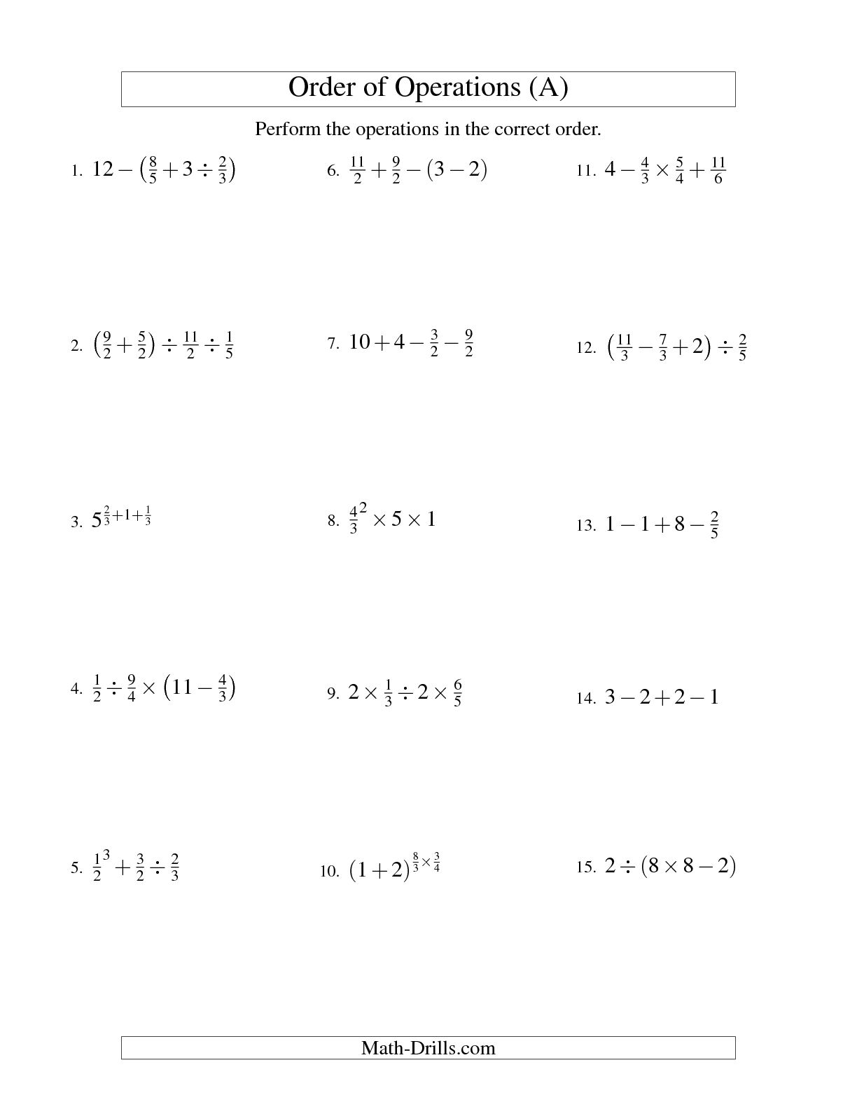 12 Best Images Of Order Of Operations Worksheets With Answers