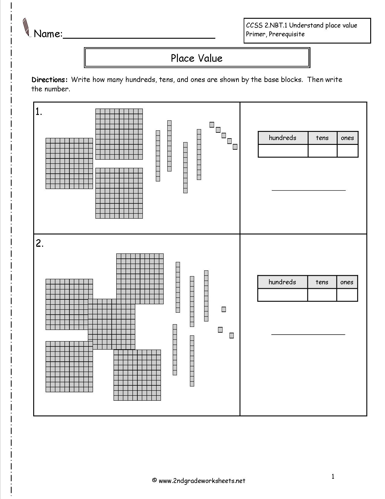 Place Value Worksheet Drawing