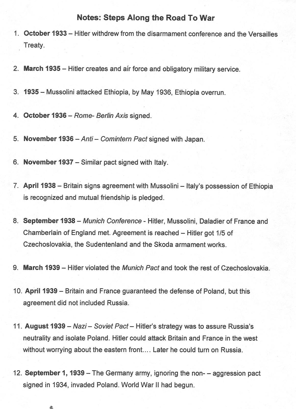 World War 1 Timeline Worksheet