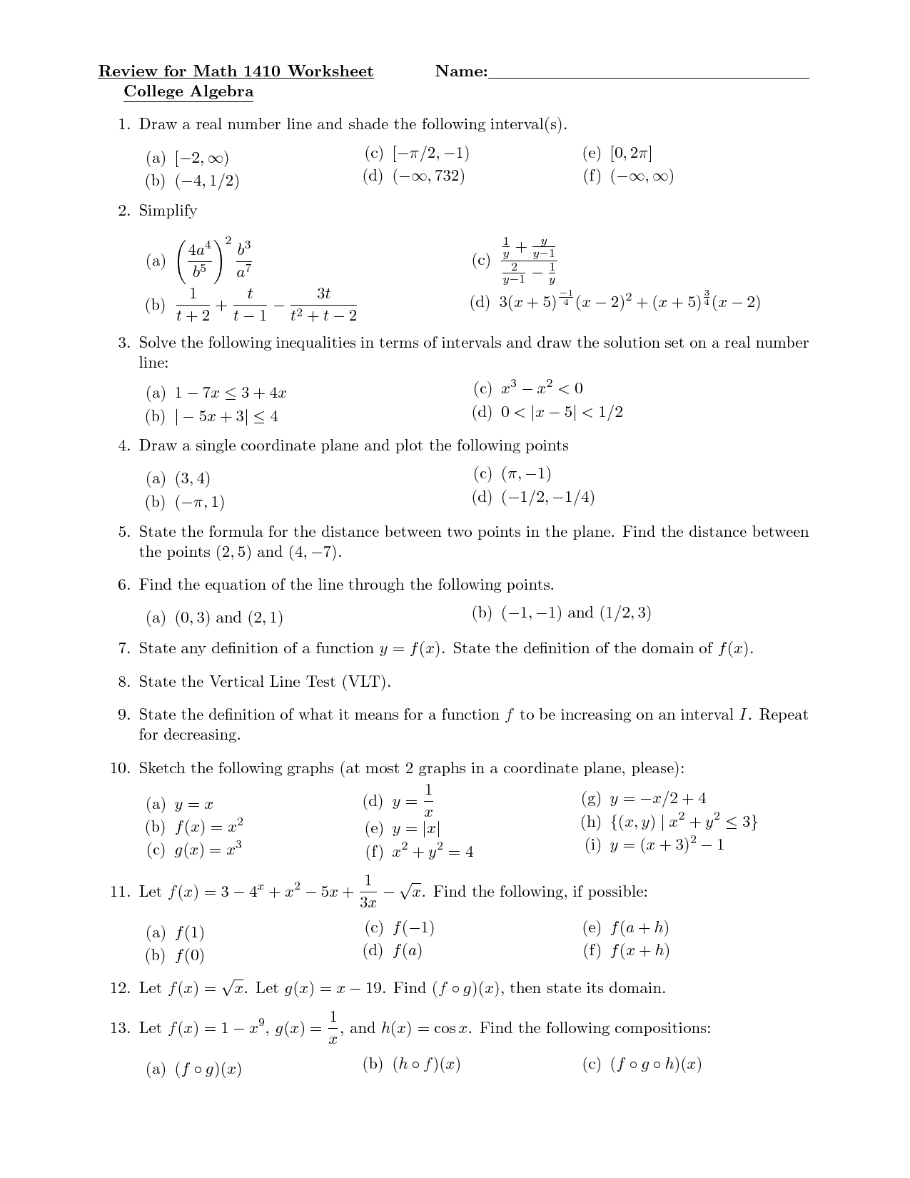 Practice Algebra Worksheet