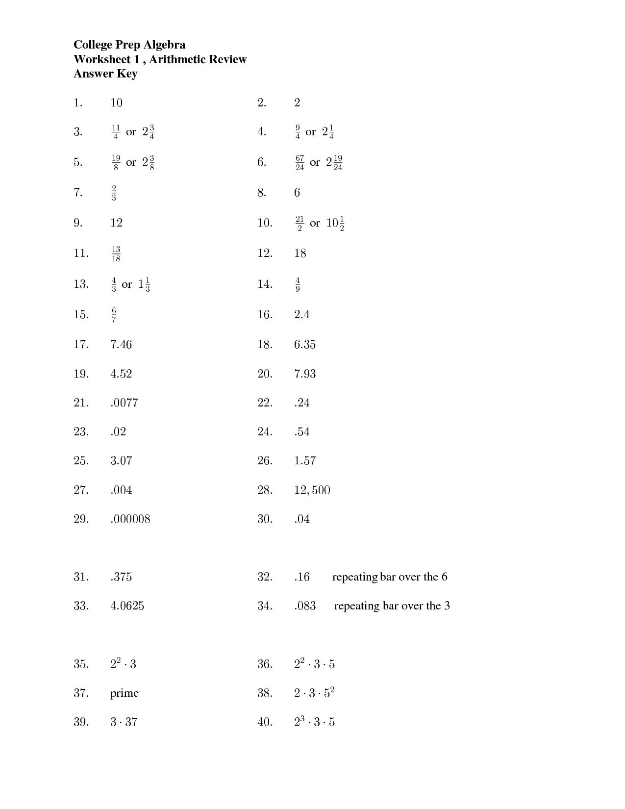 17 Best Images Of College Algebra Practice Worksheets