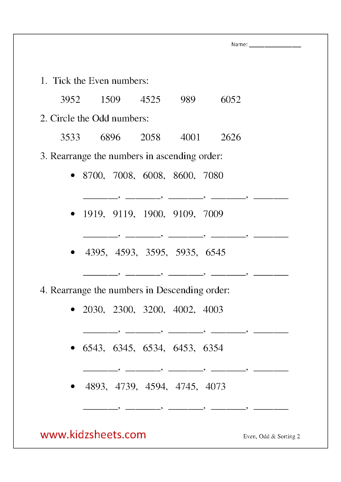 11 Best Images Of Even And Odd Numbers Worksheets
