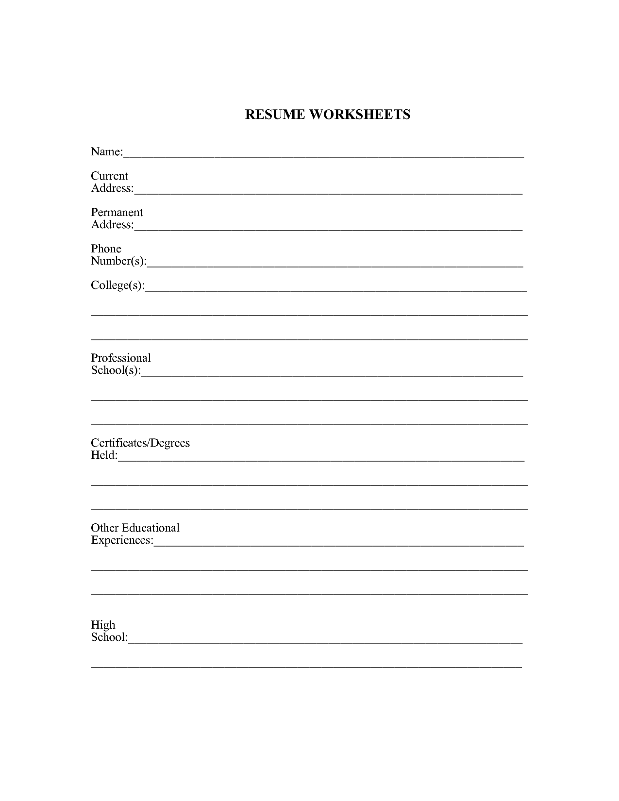 Esl Worksheets For High School Students : Worksheet resume for high school students