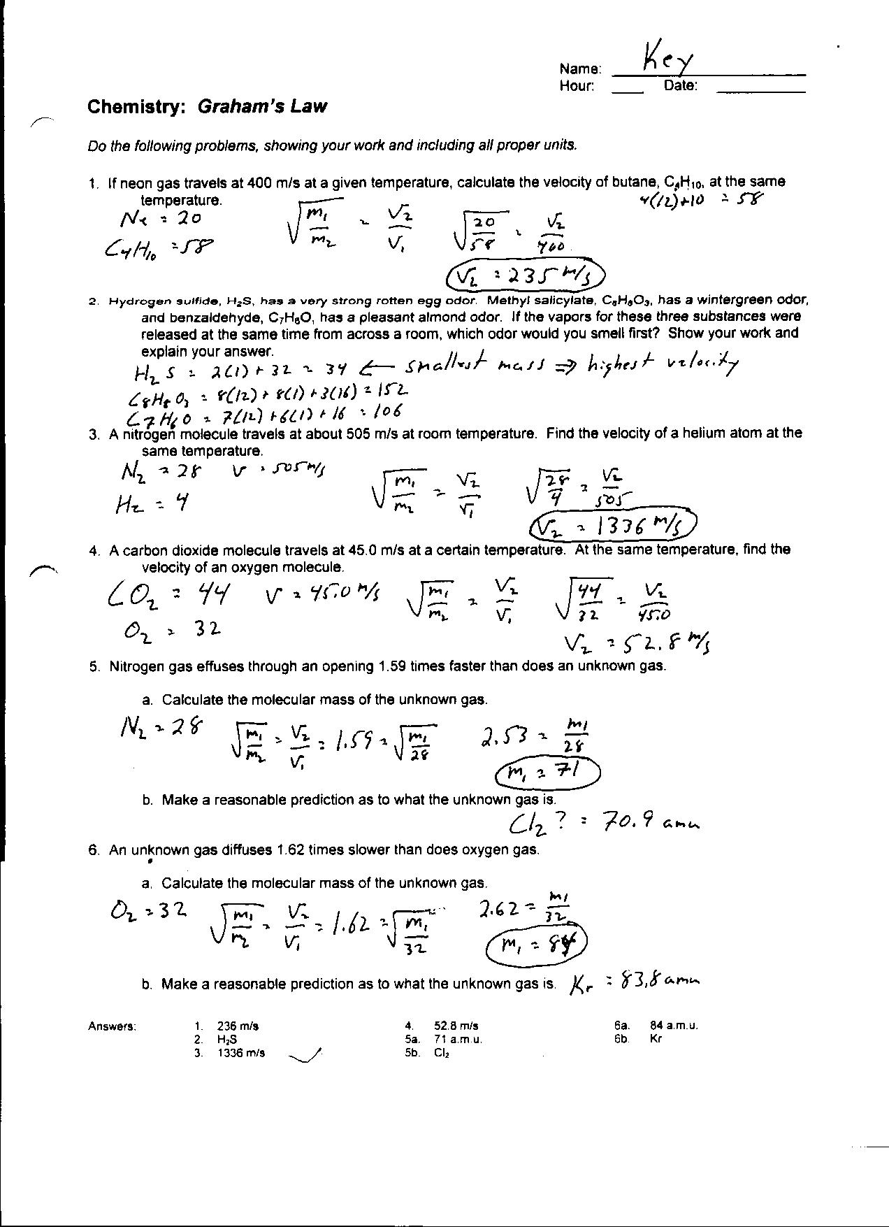 Gas Laws Review Worksheet