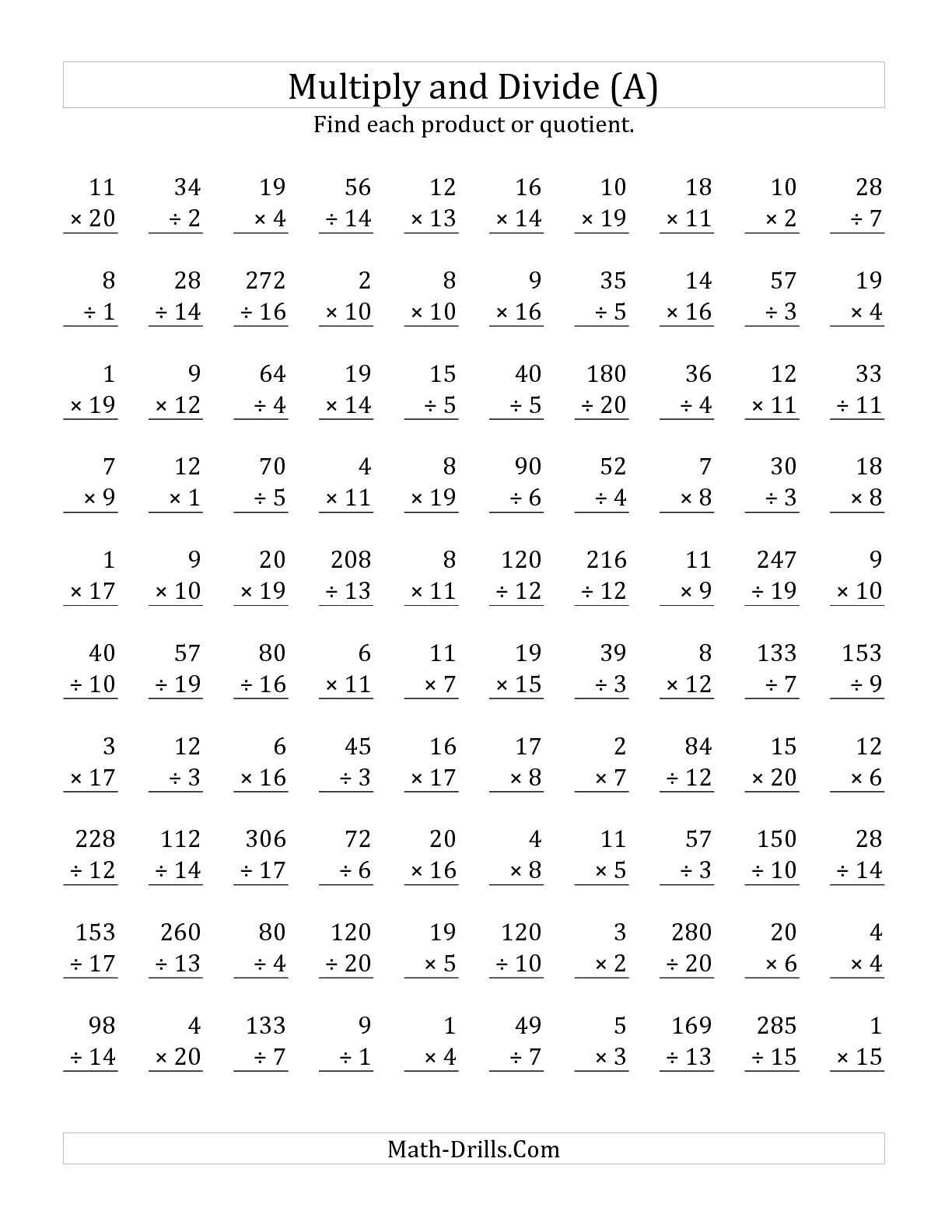 100 Problems Multiplication Worksheet Level 1