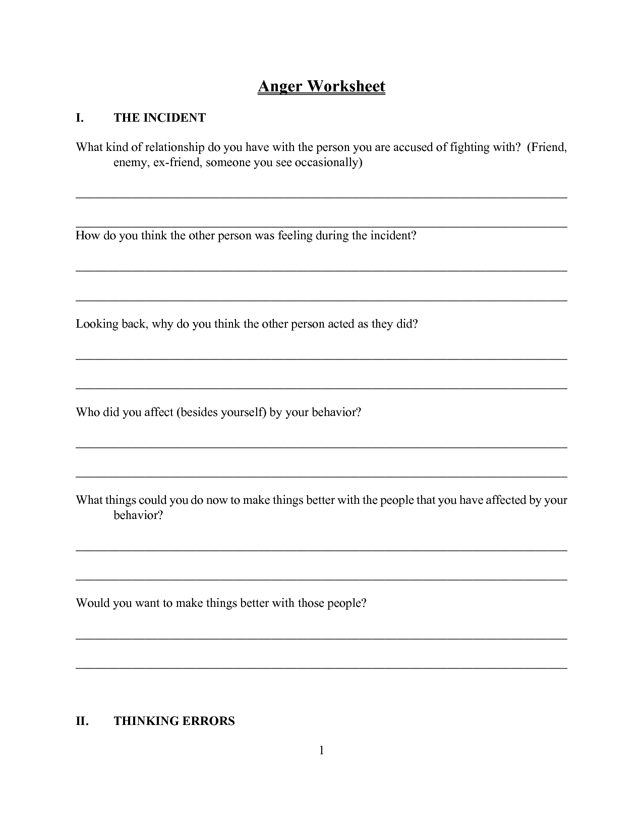 17 Best Images Of Anger Management Worksheets Adults