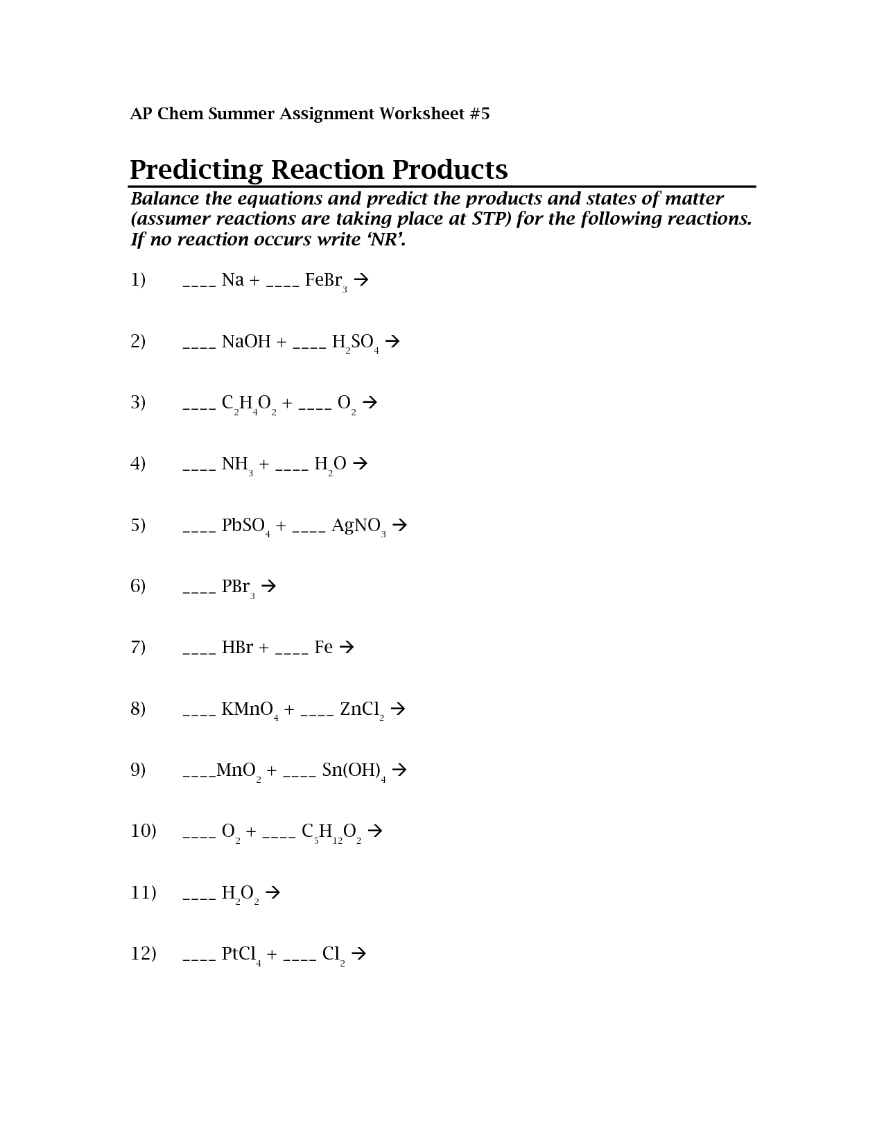 Predict And Balance Chemical Equations Calculator