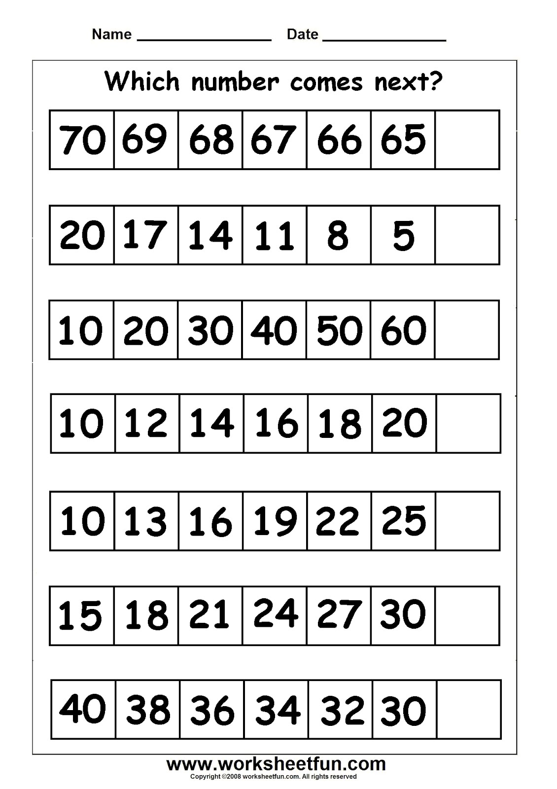 Missing Number Subtraction Worksheets For First Grade