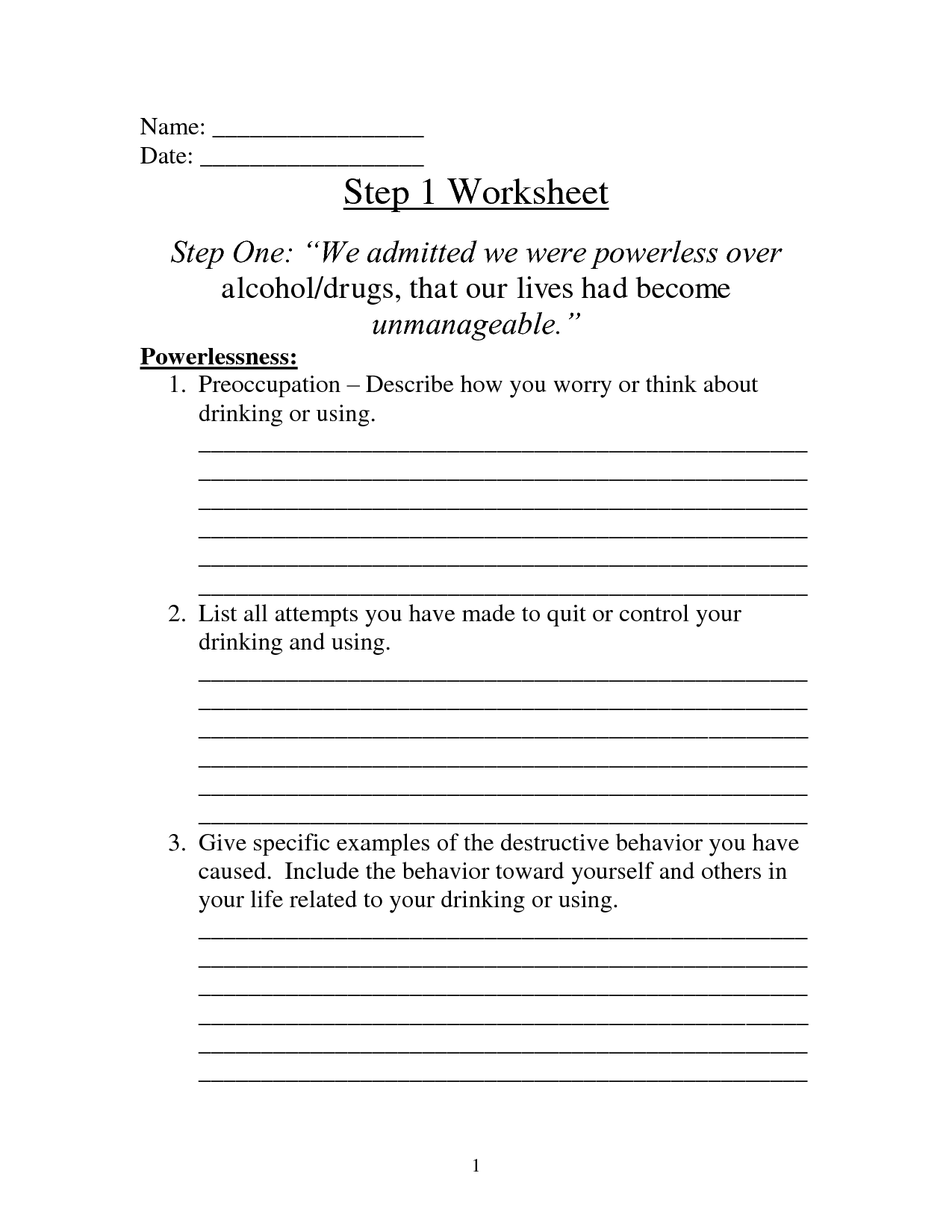 Slick Recovery Worksheet Na