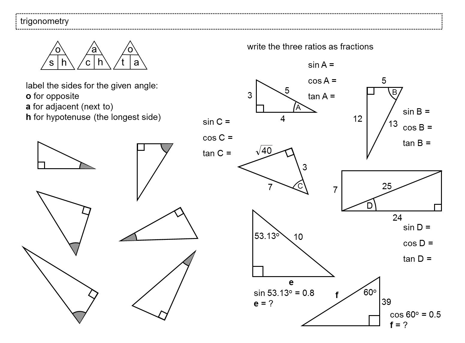 7 Best Images Of Find Missing Angle Triangle Worksheet