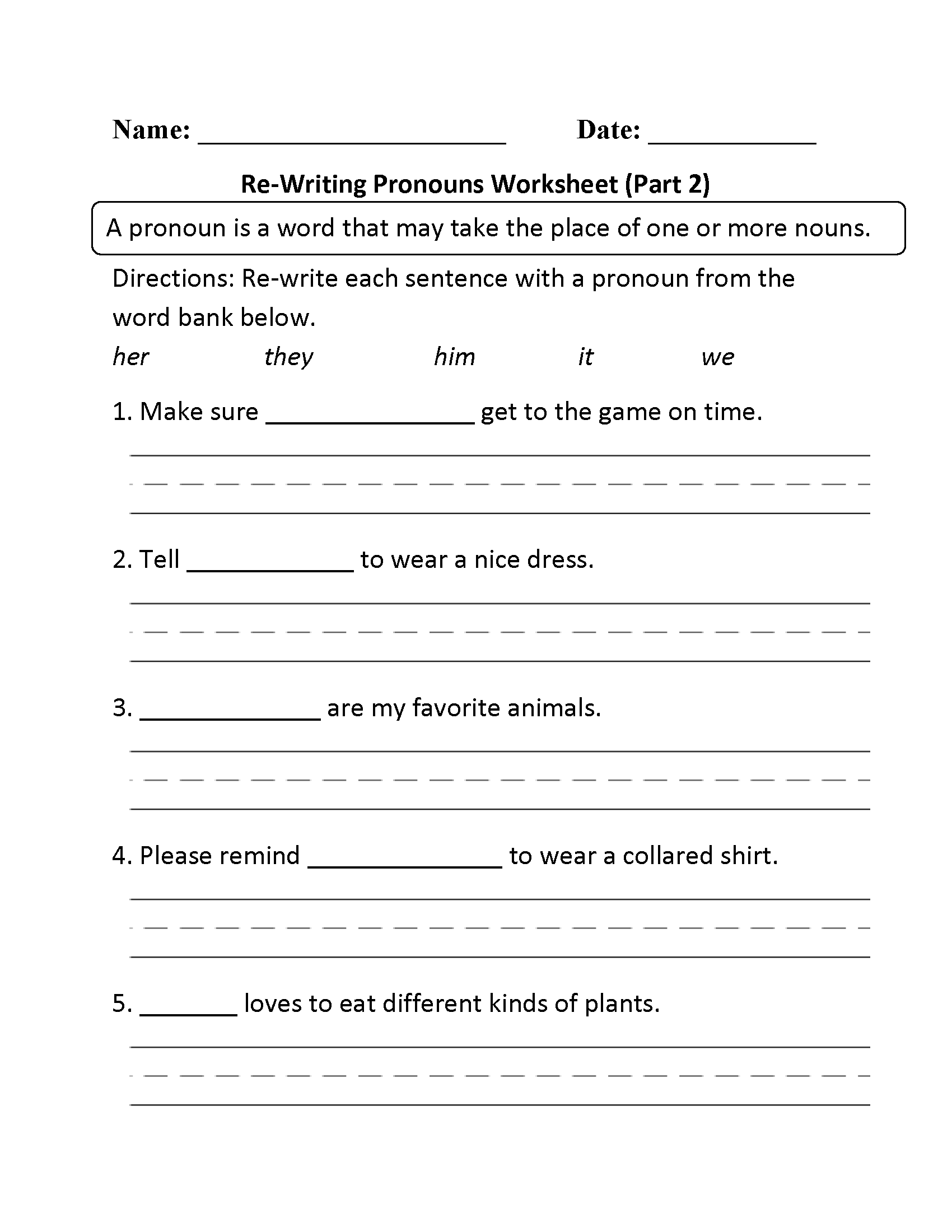 15 Best Images Of Pronoun Worksheets