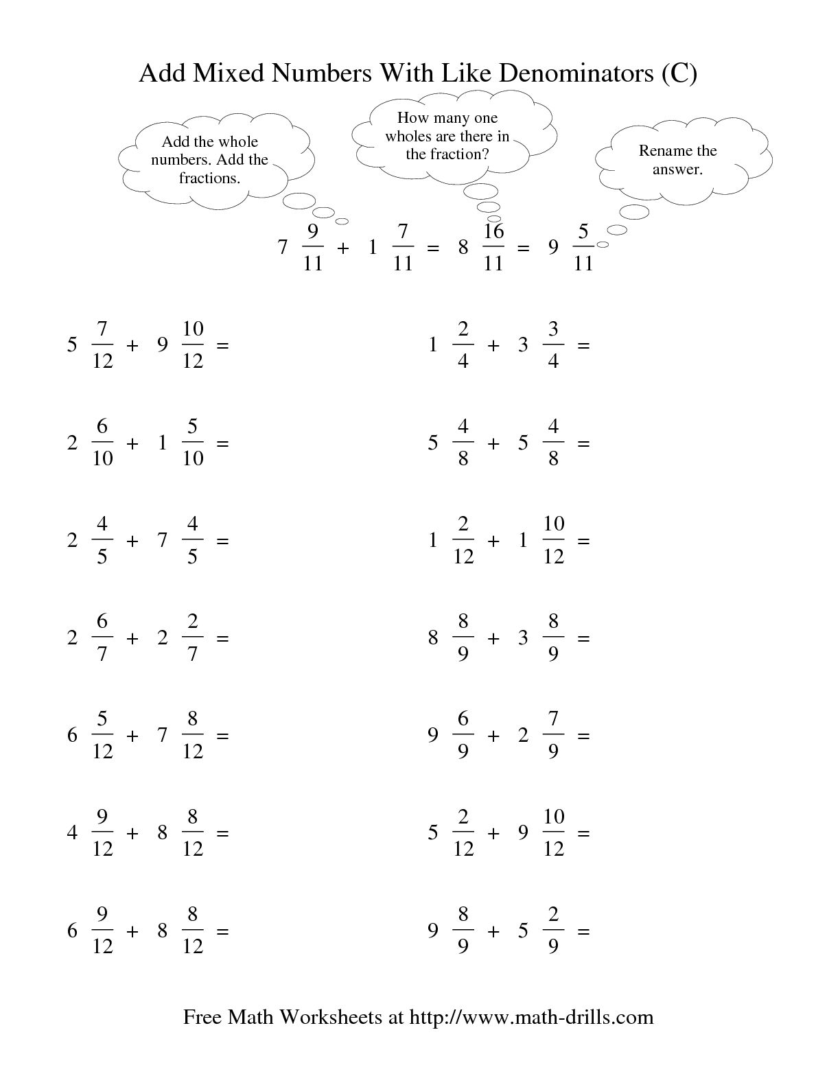 16 Best Images Of Worksheets Adding Fractions With