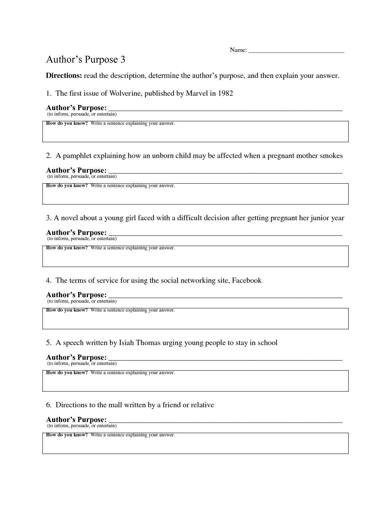 10 Best Images Of Authors Purpose Worksheets 3rd Grade