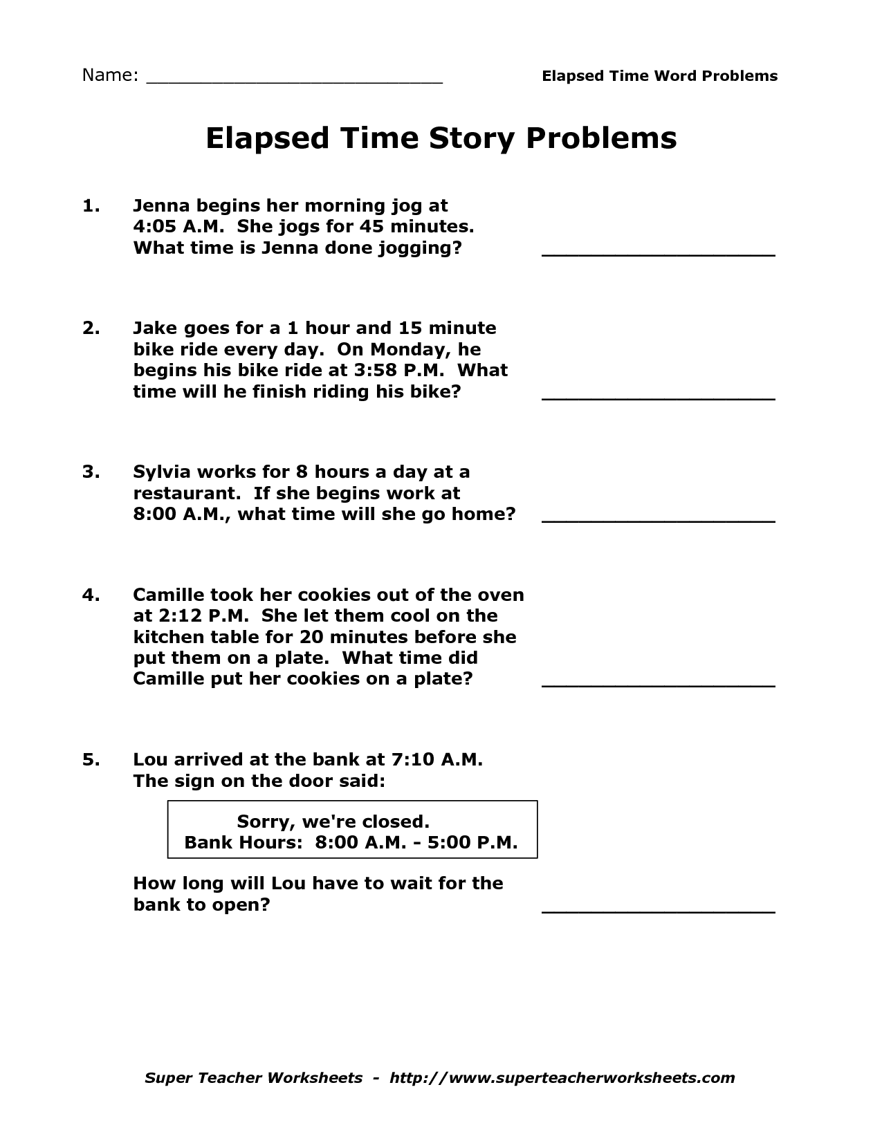 15 Best Images Of Easy Elapsed Time Worksheets