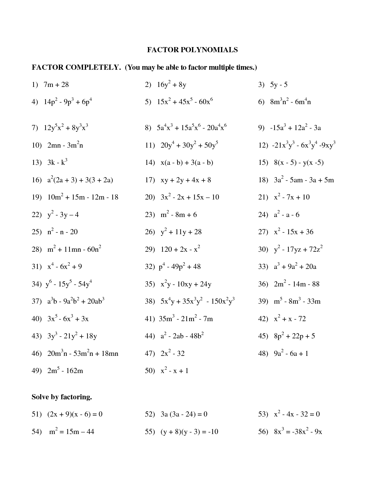 11 Best Images Of Polynomial Practice Worksheets With