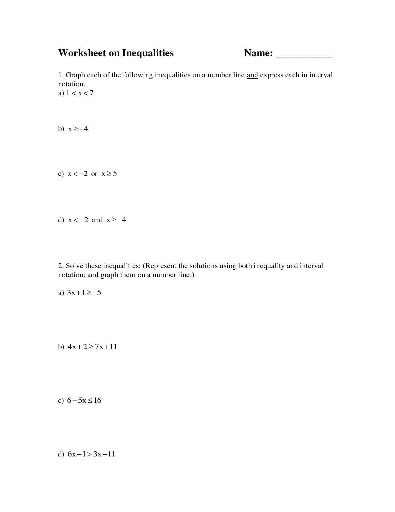 One Step Graphing Inequalities Worksheet