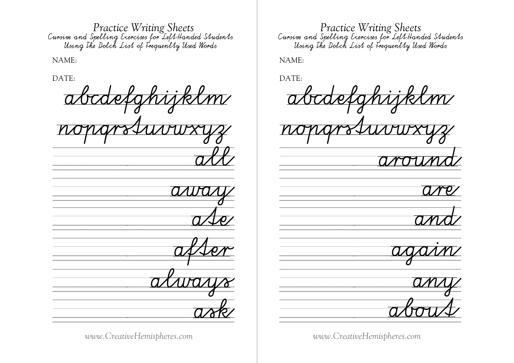 Cursive Writing Practice Pages