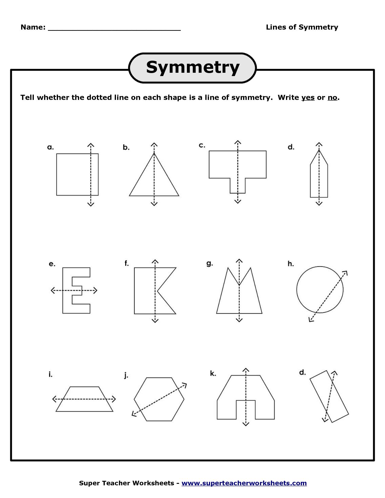 Simple Symmetry Worksheet
