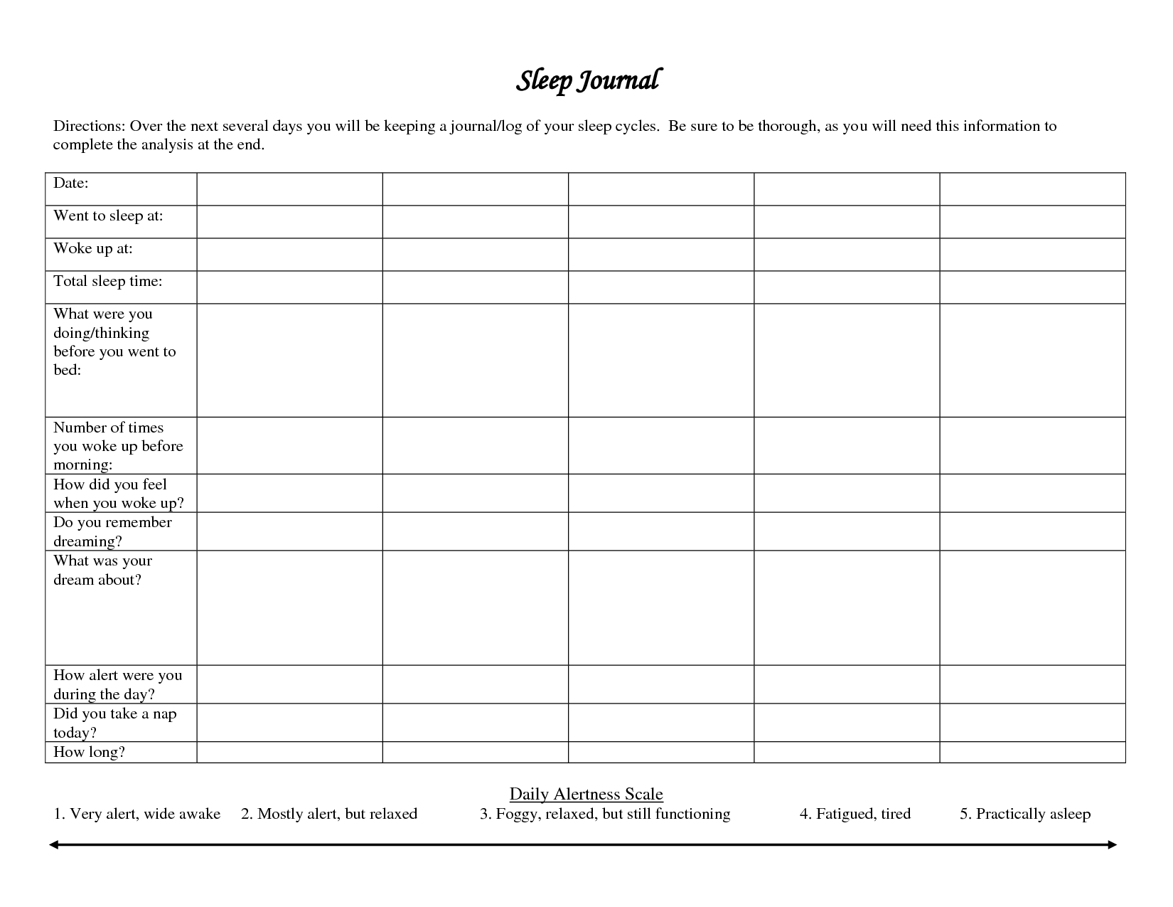 18 Best Images Of Sleep Diary Worksheet