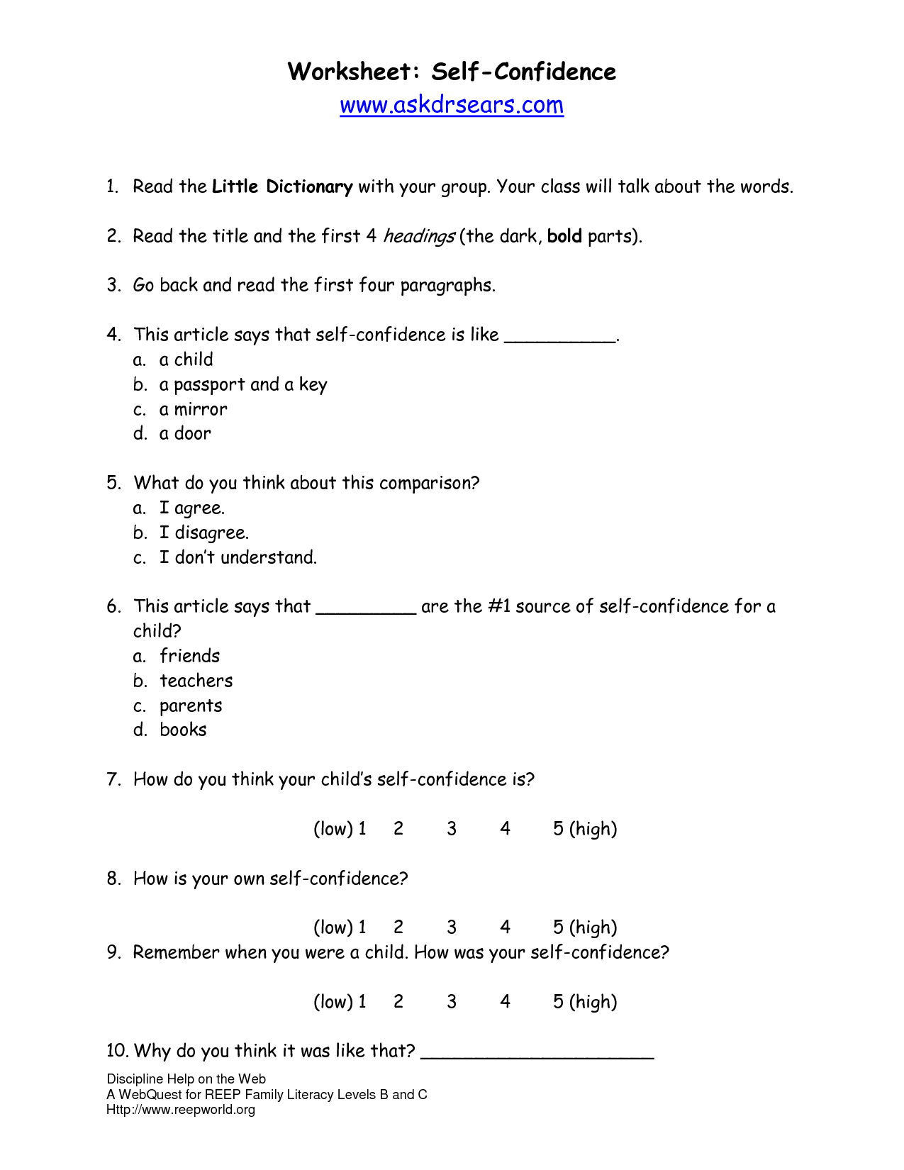 14 Best Images Of Self Talk Worksheets