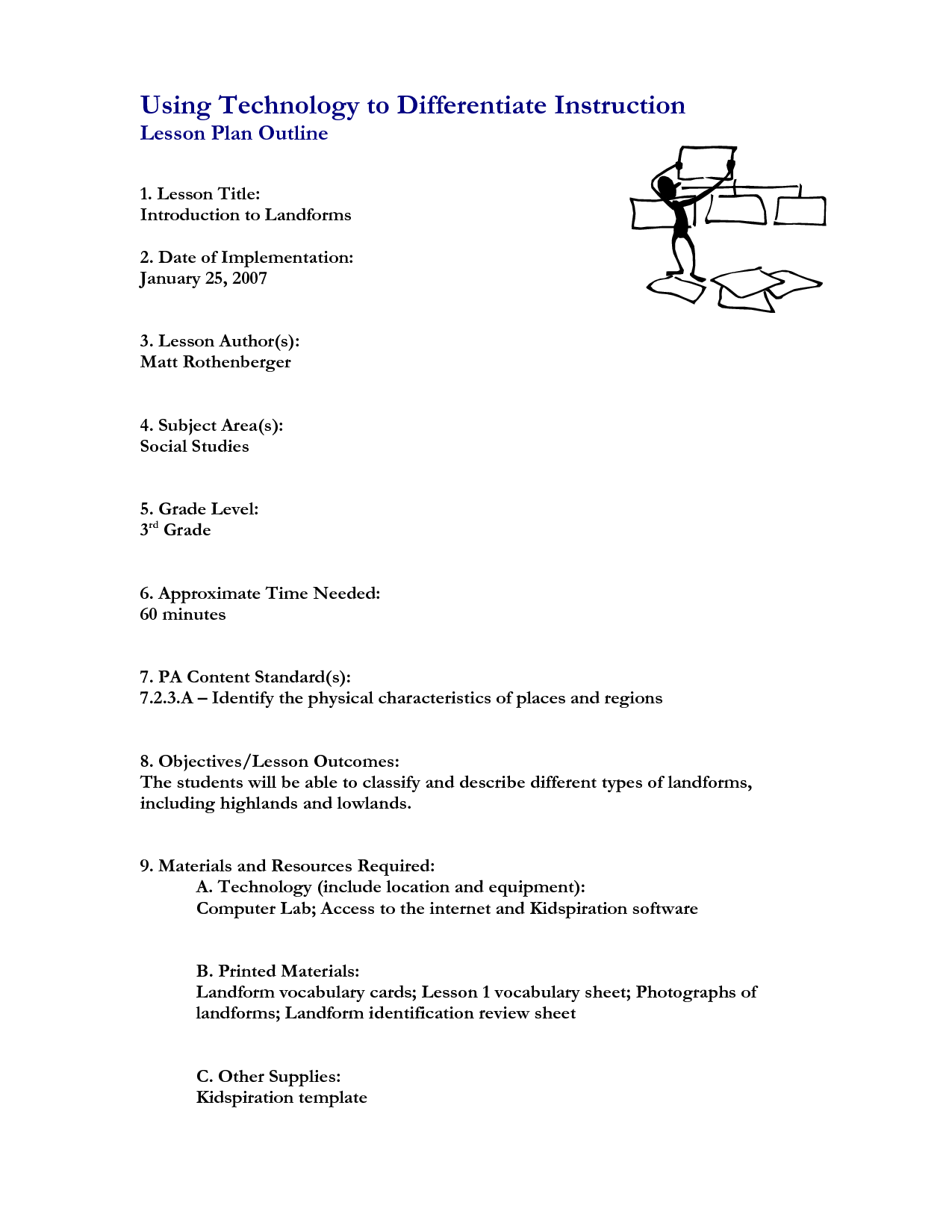 Landform Worksheet For 3rd Grade