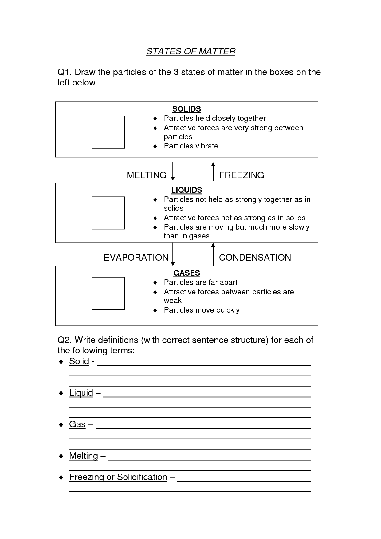 12 Best Images Of Physical States Of Matter Worksheet