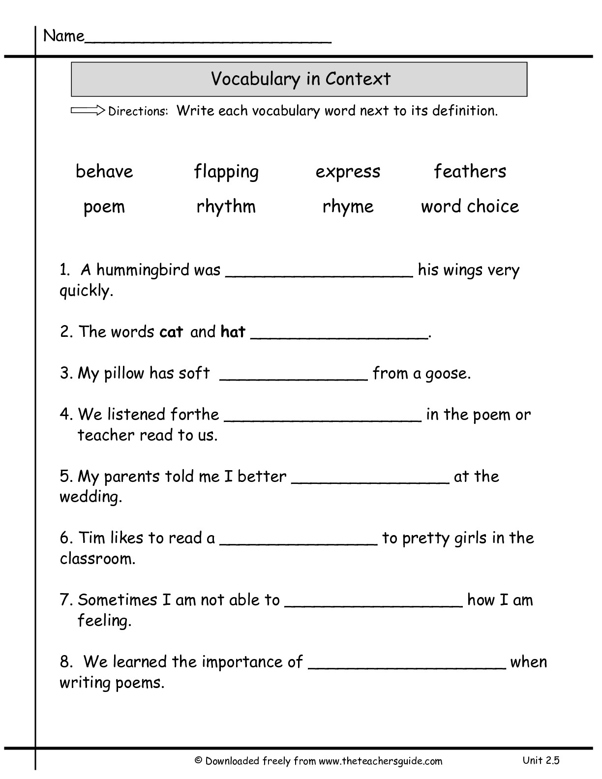 13 Best Images Of Definition Matching Worksheet