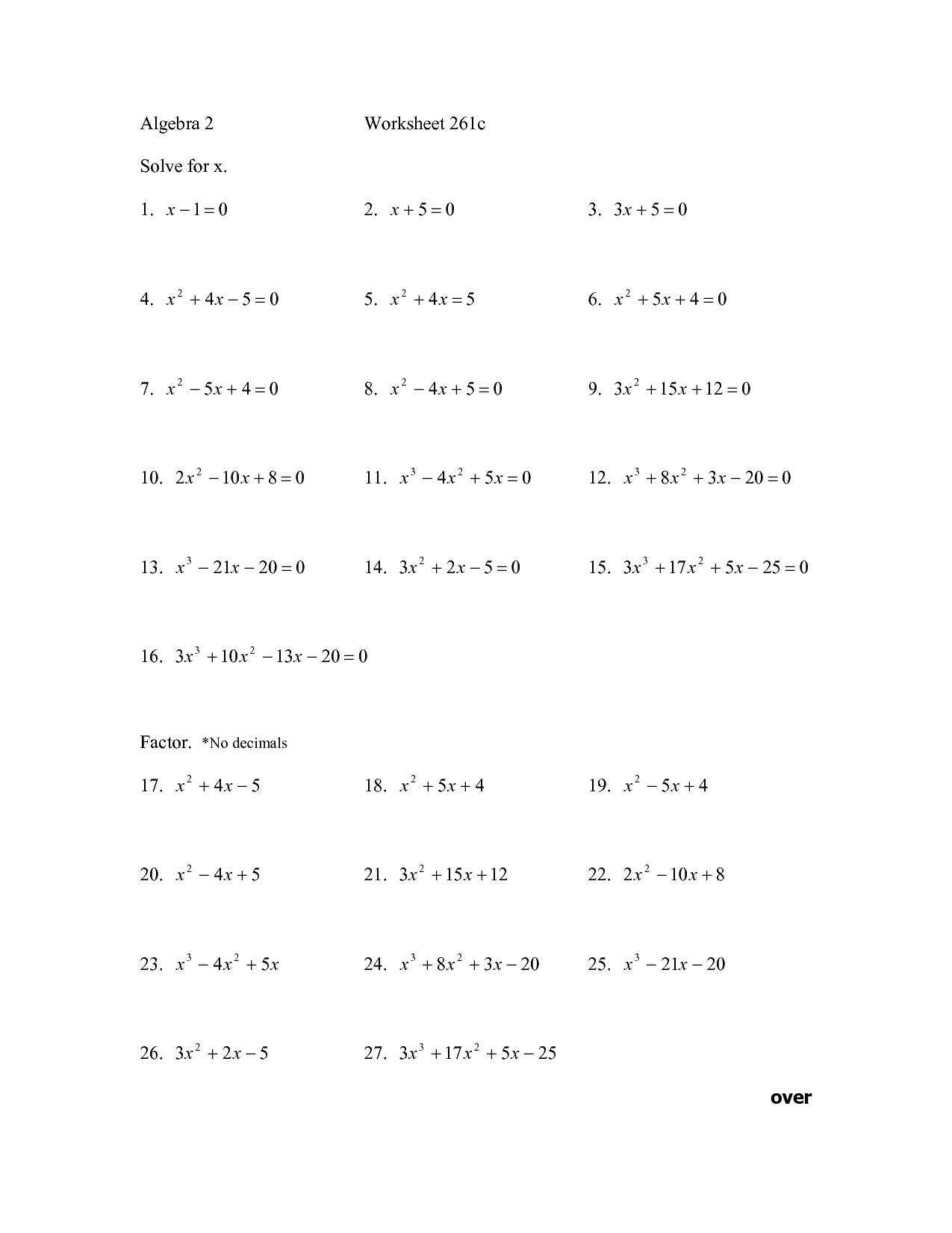 13 Best Images Of High School Algebra Worksheets Free
