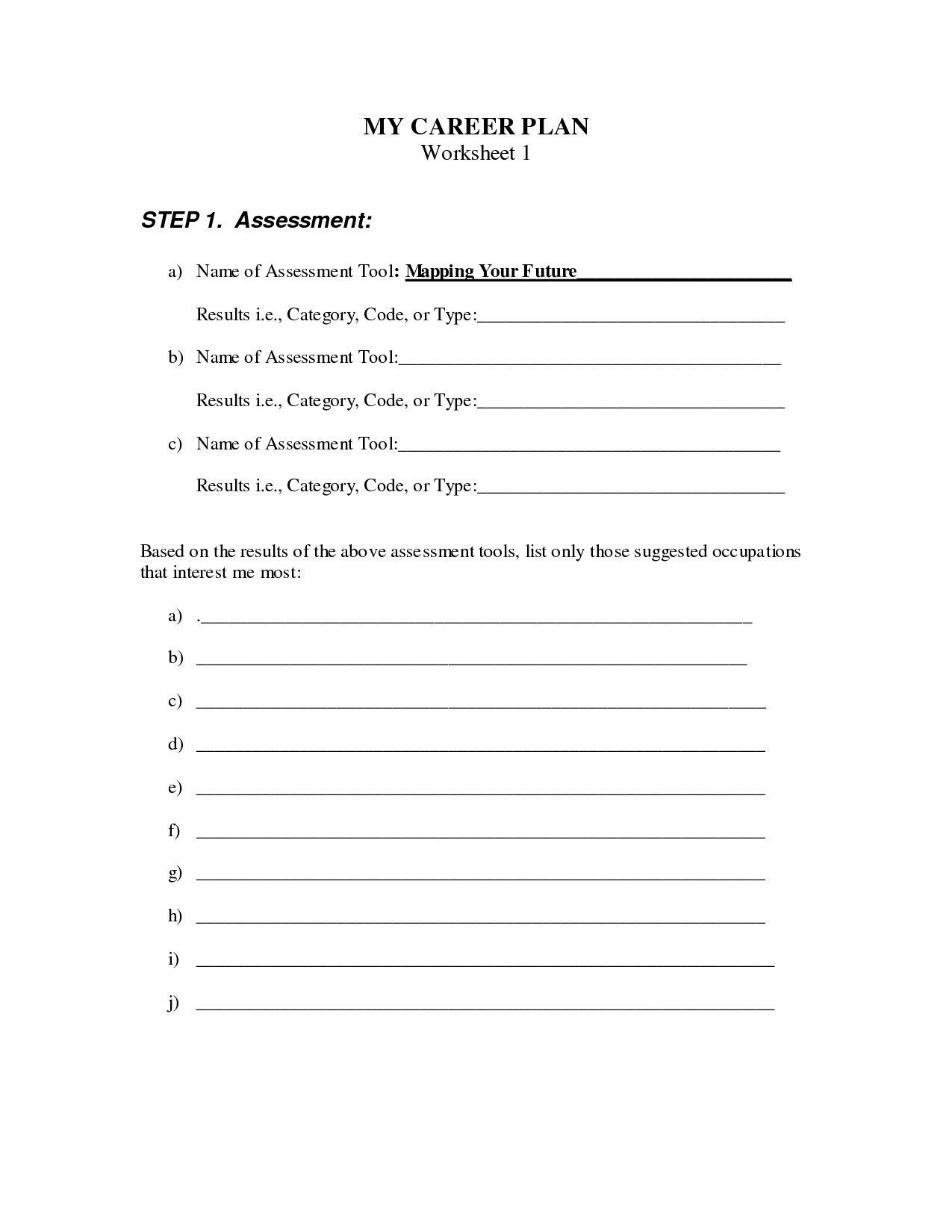 Career Worksheets For Highschool Students