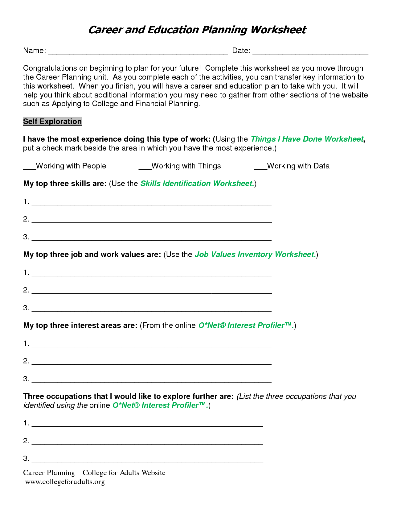 12 Best Images Of Career Exploration Worksheets Middle