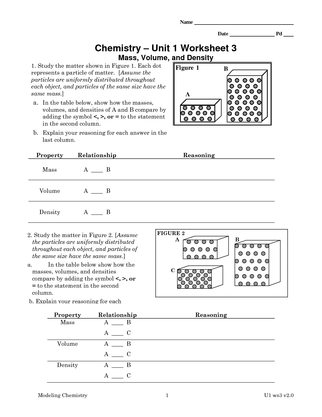 Chemistry Unit 1 Worksheet 3 Answer Key