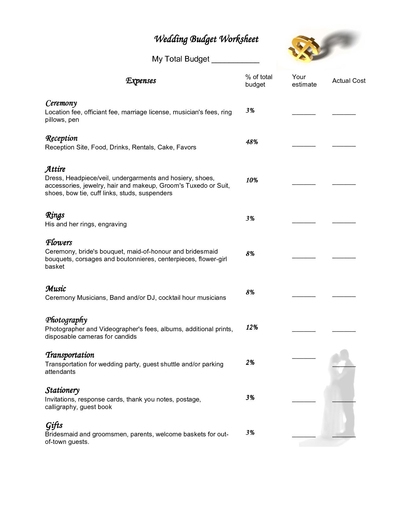20 Best Images Of Simple Wedding Planning Worksheets