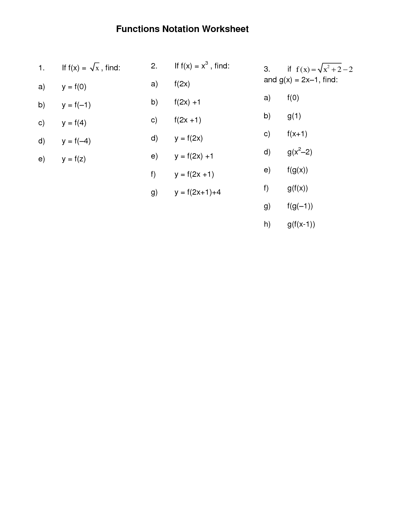 11 Best Images Of Function Notation Problems Worksheet