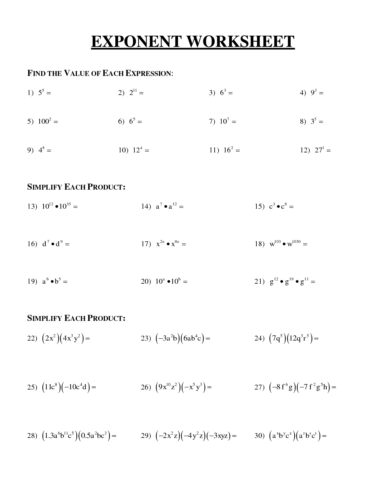 Evaluating Exponents Worksheet