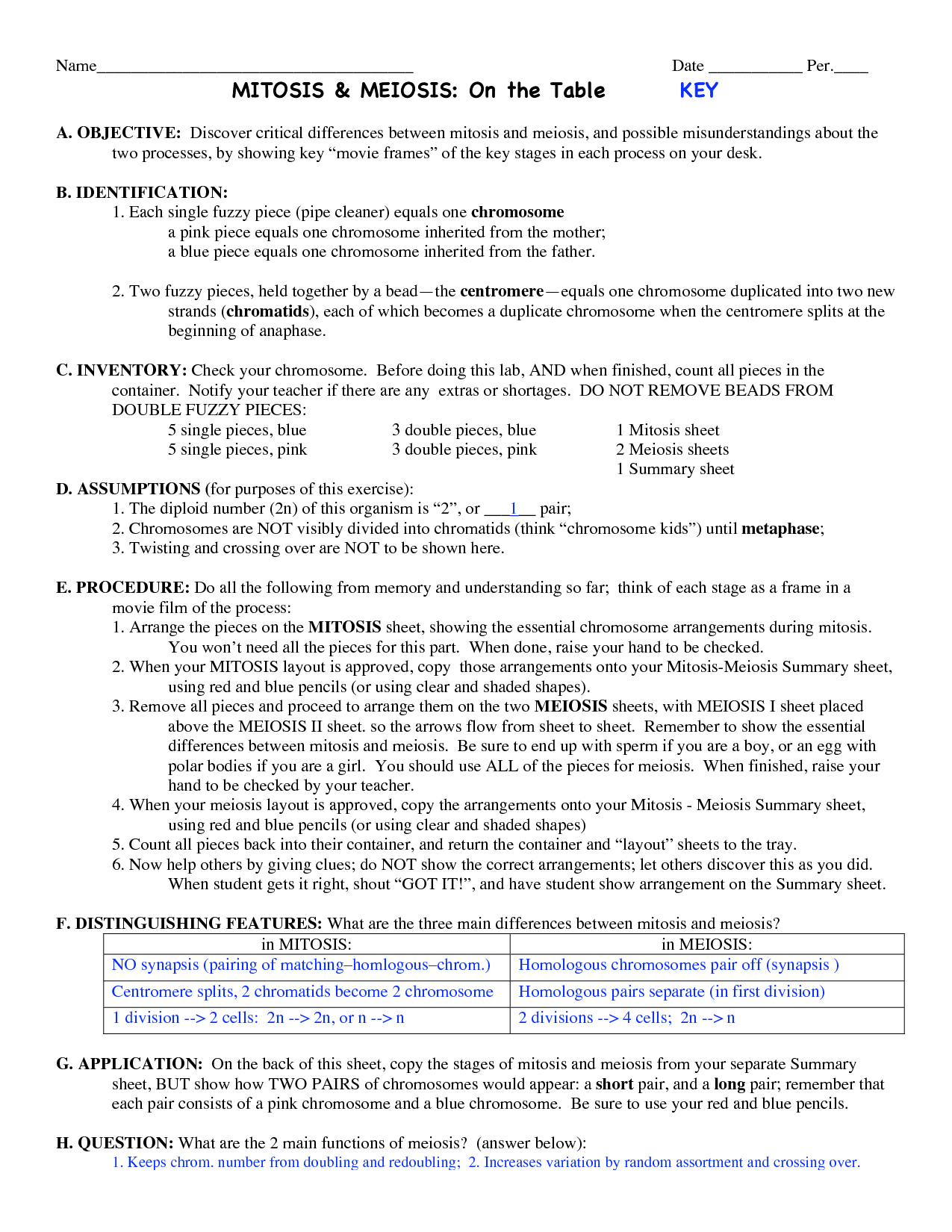Cell Reproduction Mitosis And Meiosis Worksheet Answers