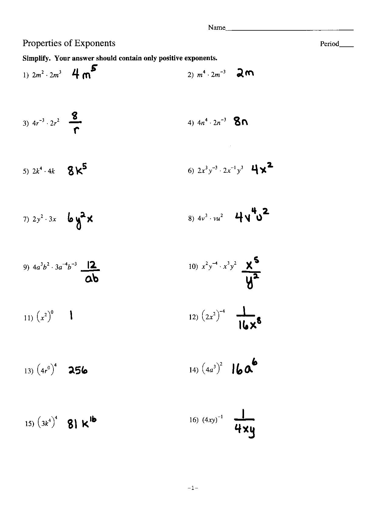 Evaluating Exponents Worksheet Answers