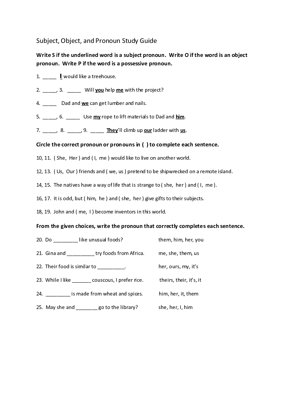 15 Best Images Of Subject Object Pronouns Worksheet