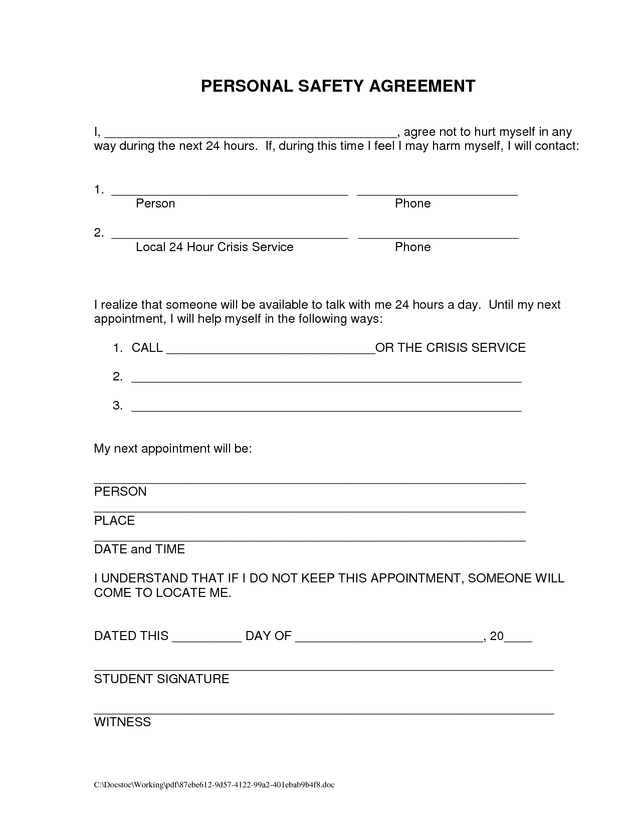 Sober Support Worksheet