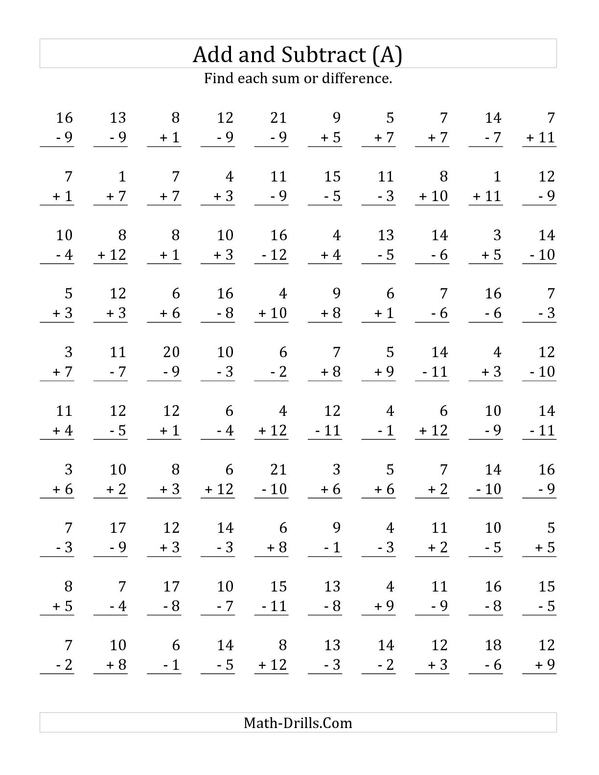 11 Best Images Of Adding And Subtracting Numbers Worksheet