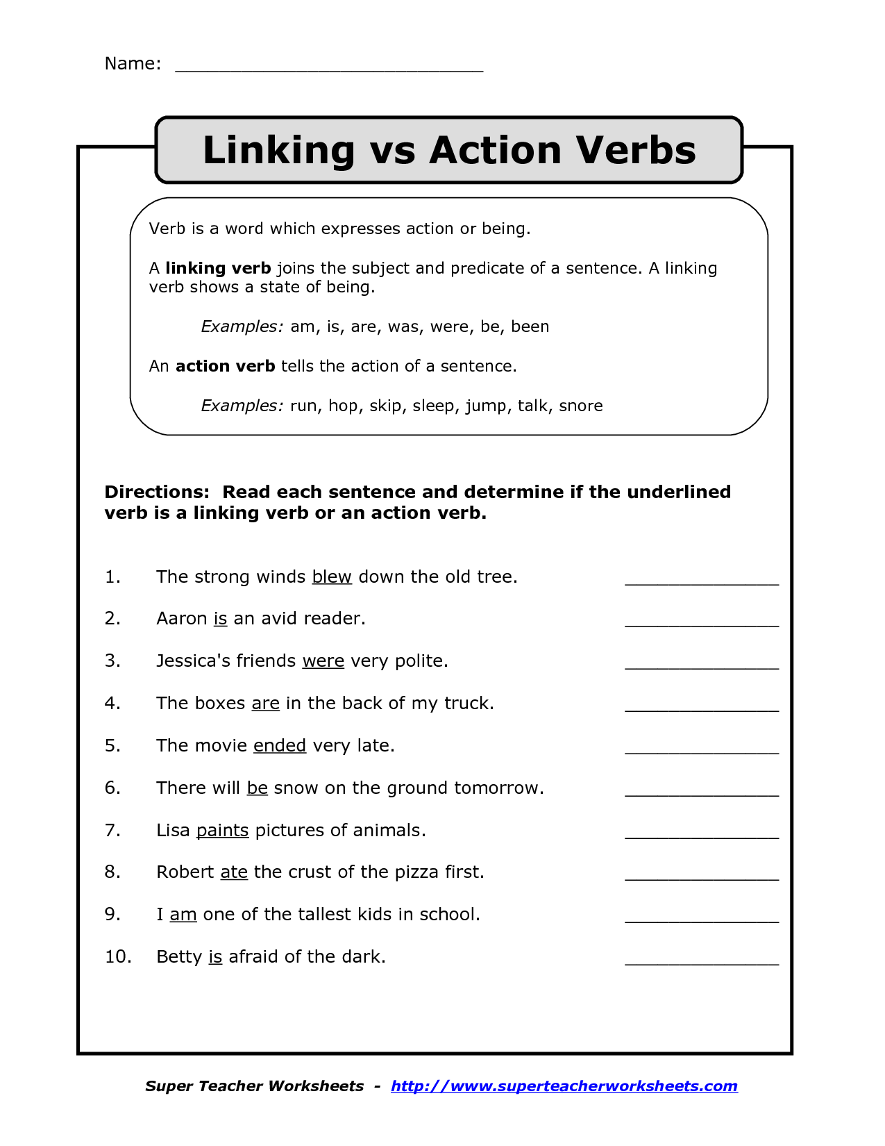 20 Best Images Of Action Vs Linking Verbs Worksheets