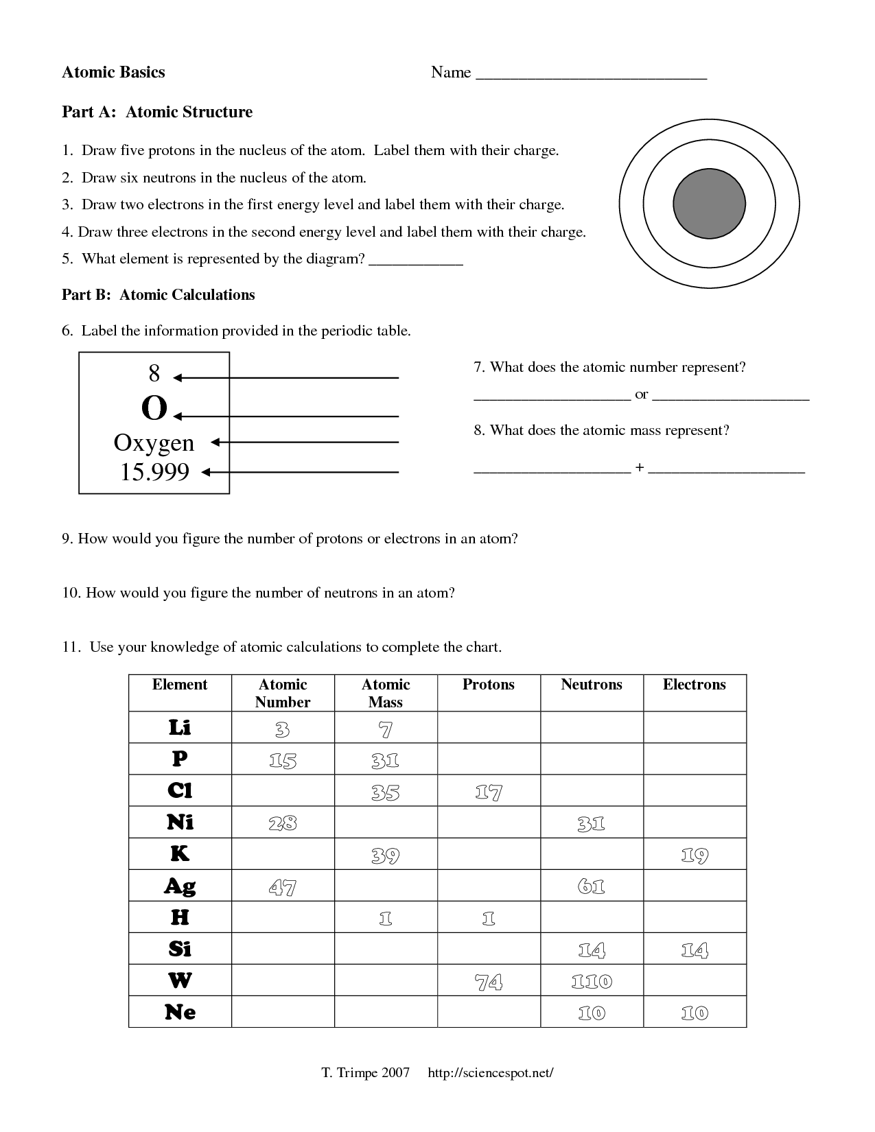 Atomic Model Timeline Worksheet