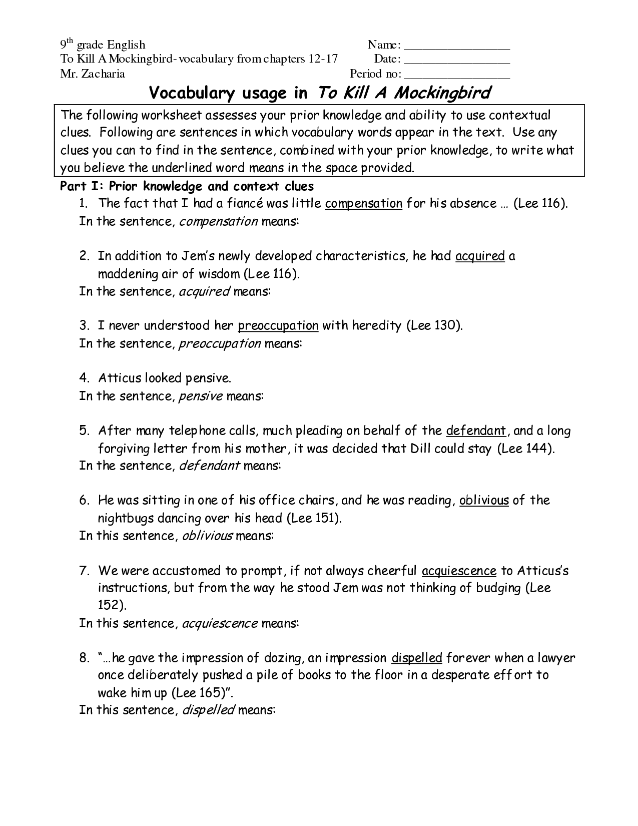 9th Grade Worksheet Category Page 2