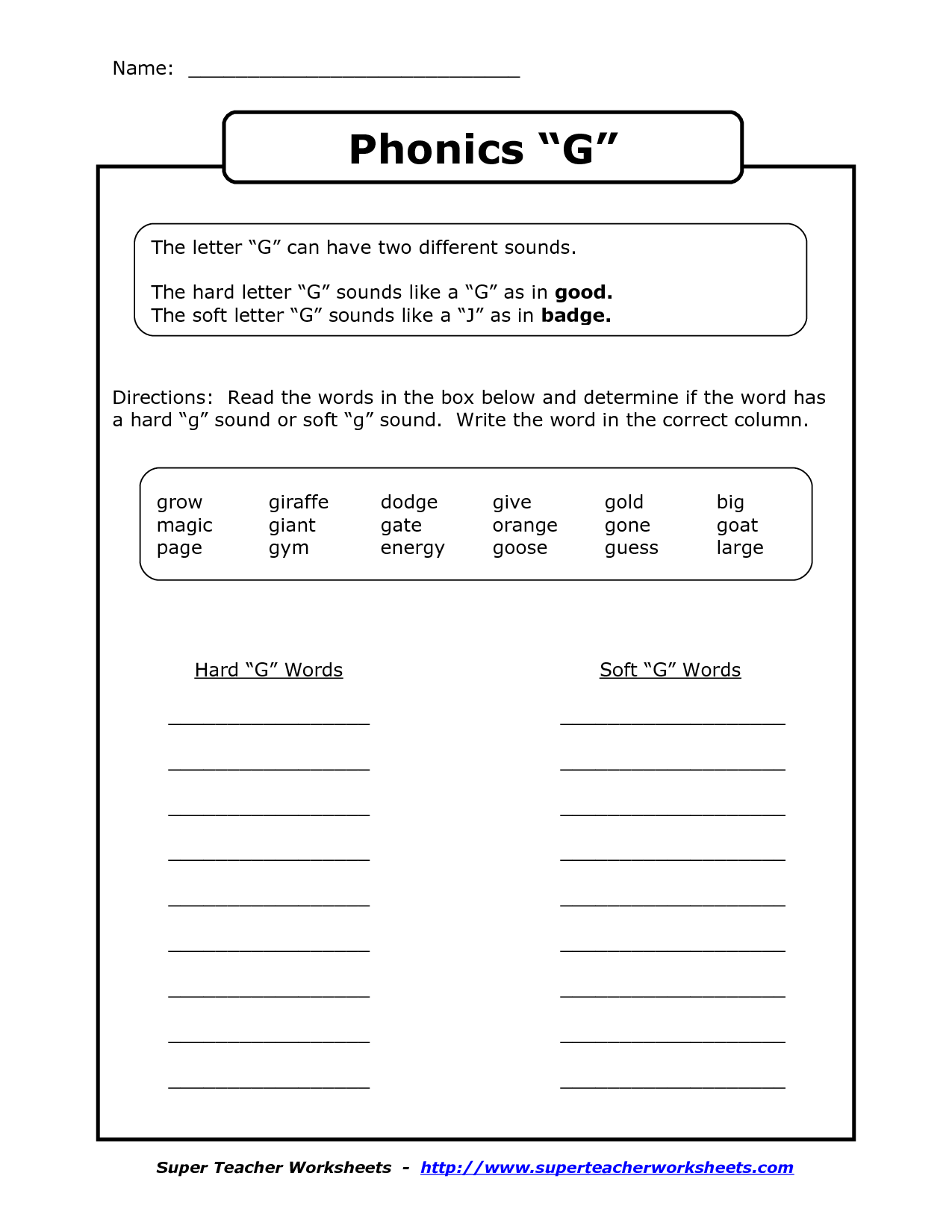 10 Best Images Of Worksheet For G Sound