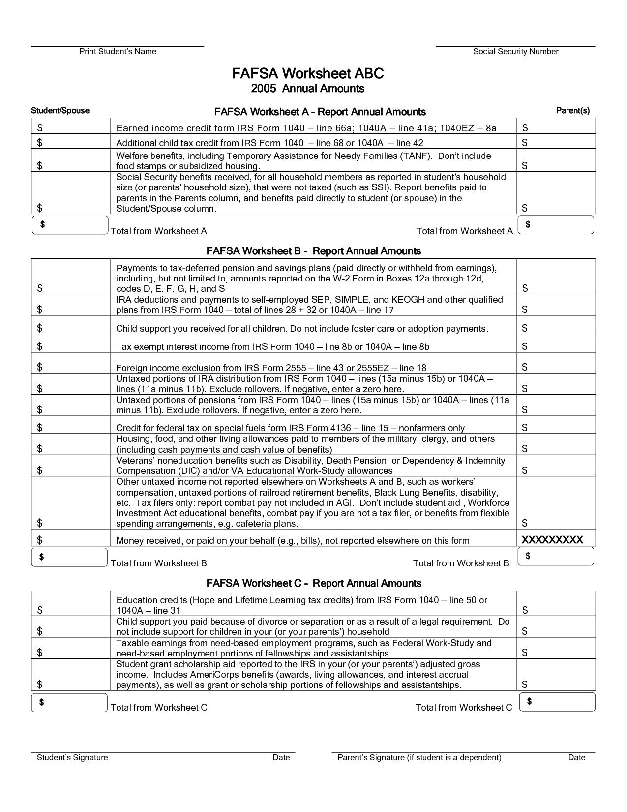 Irs Social Security Worksheet 1