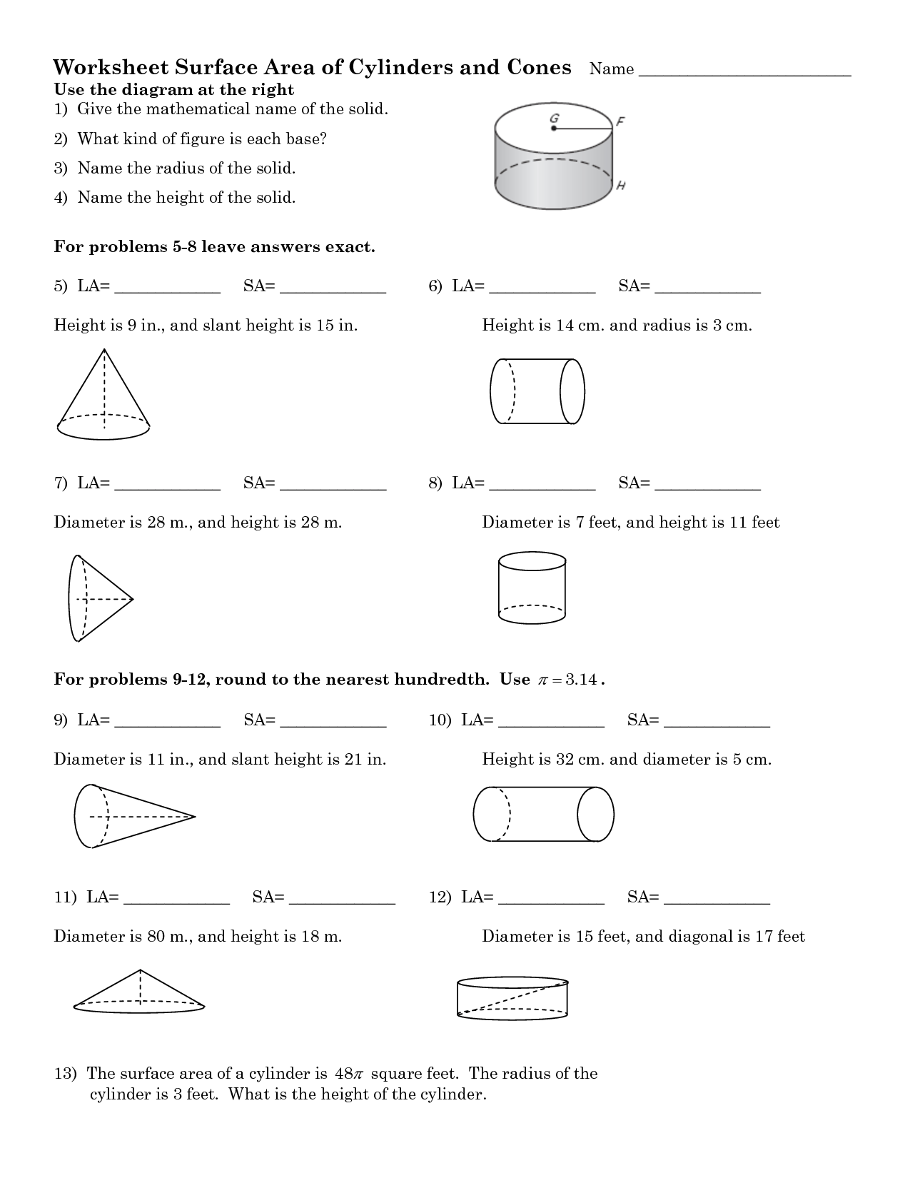 9 Best Images Of Surface Area Volume Word Problems