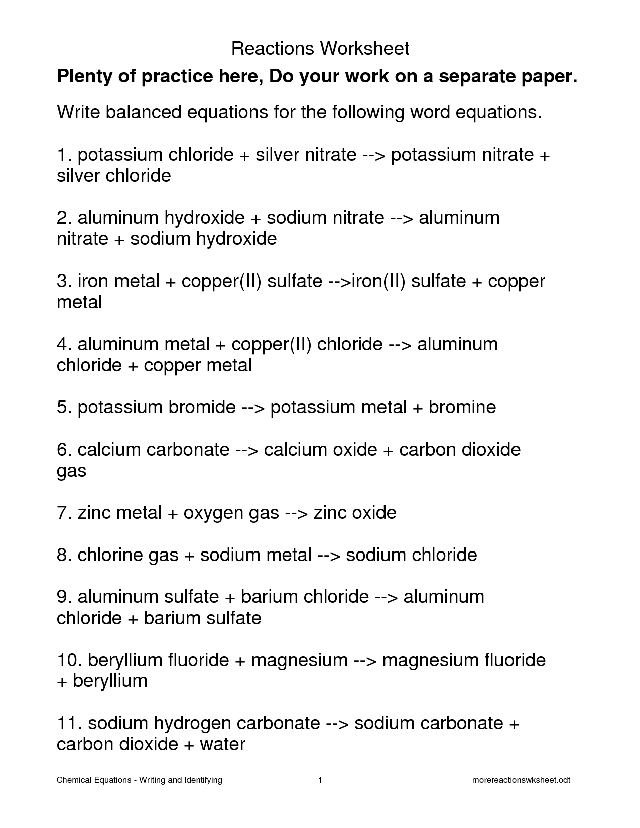 12 Best Images Of Reaction Types Worksheet